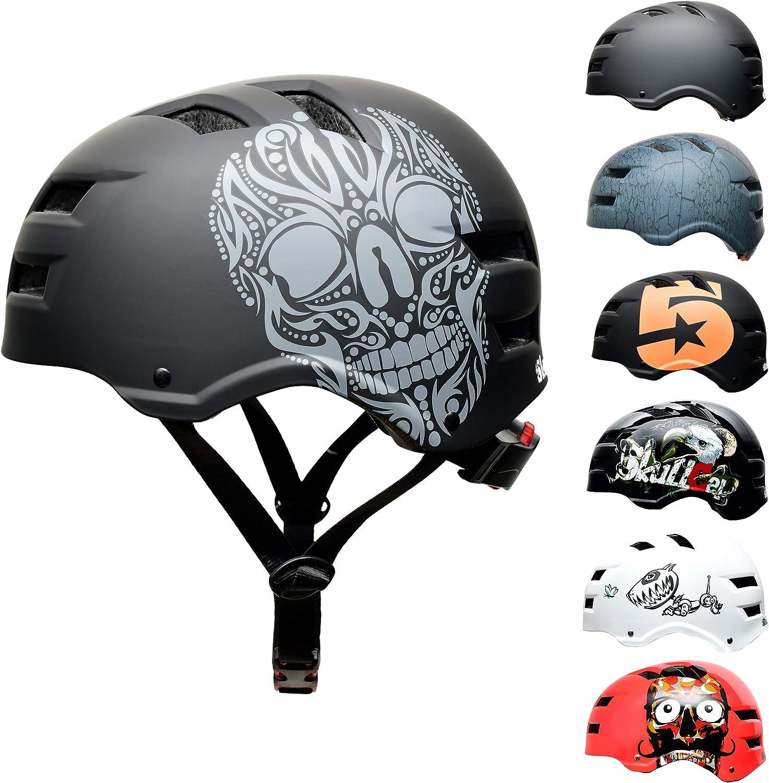 SkullCap® Casco de Skate, BMX Bicicleta y Scooter Eléctrico