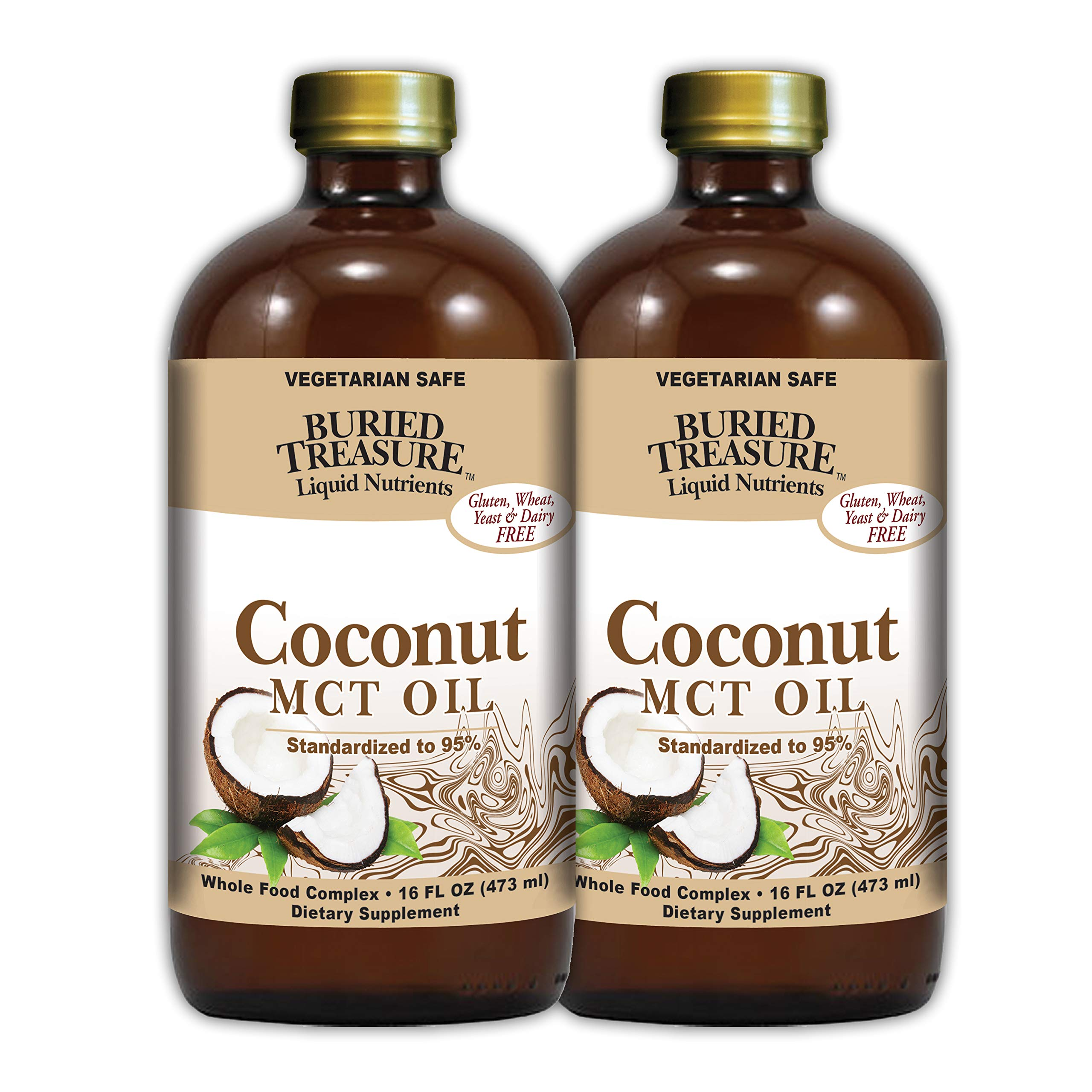 Buried Treasure MCT Coconut Oil for Healthy Brain Function Increased Performance Keto and Paleo Diet Safe Flash Steamed Medium Chain Triglycerides 32 Ounce (Pack of 2) by Buried Treasure