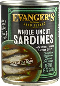 Evanger'S Hand-Packed Grain-Free Catch Of The Day Sardines Dog Food 13-Ounce Cans, Case Of 12