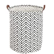 LANGYASHAN Storage Bin,Ramie Cotton/Canvas Fabric Folding Storage Basket with Handles- Toy Box/Toy Storage/Toy Organizer for Boys and Girls - Laundry Basket/Nursery Hamper(Geometric circle )