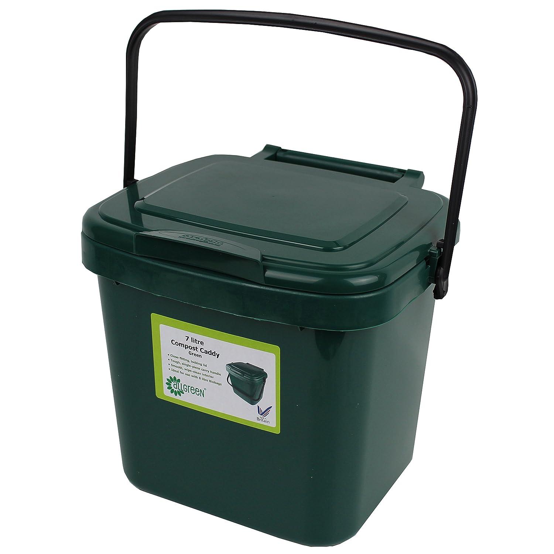 All-Green Küchenkomposteimer mit Kompostieranleitung – Plastik, 7 Liter, Grün Grün VC 7L-Green-Caddy