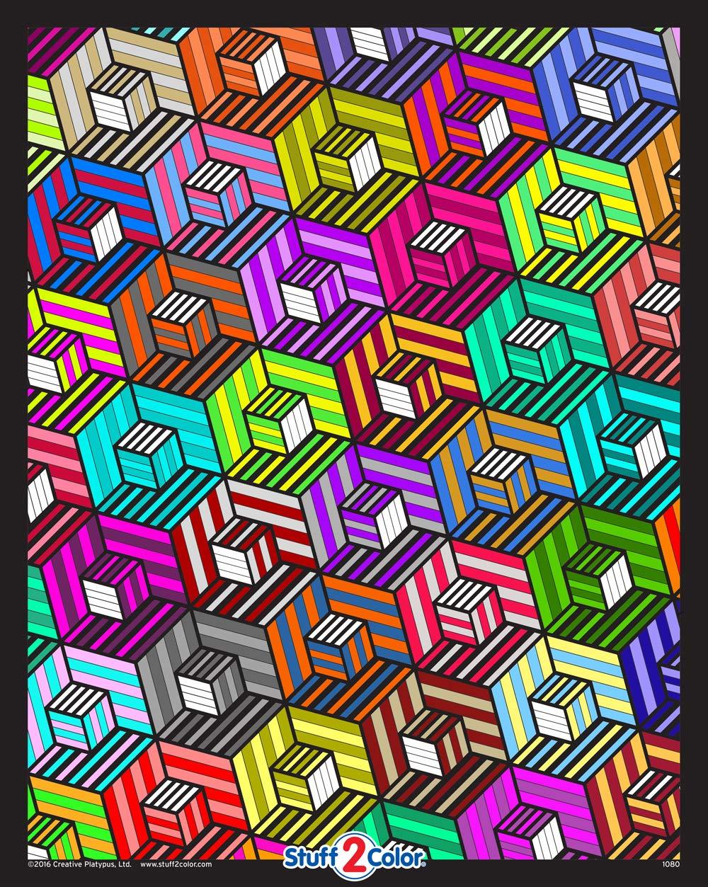 Cubes - Fuzzy Velvet Detailed Colouring Poster 16x20   B01HJ372J2