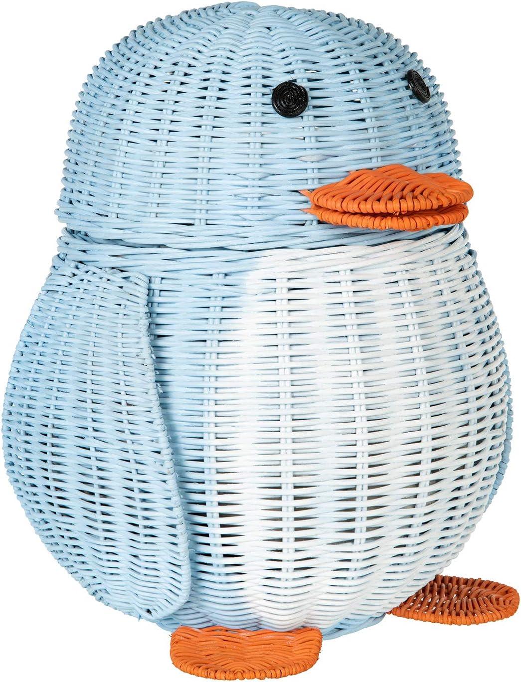 KOUBOO Wicker Penguin, Multi-Color Storage Basket Blue and White