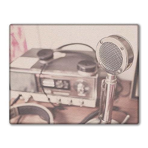 Glas Schneidebrett Arbeitsplatte Saver Vintage Radio Und Mikrofon