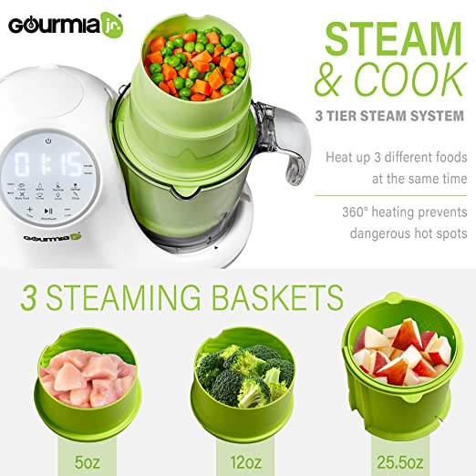 Gourmia Jr  5-in-1 Baby Food Processor, 3 Tier Steaming,3 Blending Modes,  Large Touch Display, JFP300,