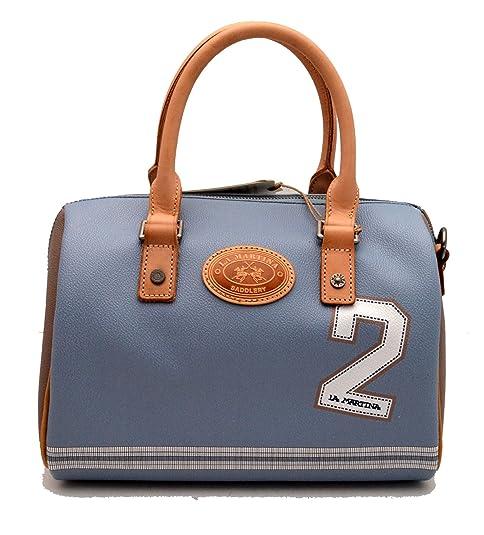 e0d455f8101ee La Martina Borsa bauletto Donna Ecopelle e Pelle tracolla azzurra   Amazon.it  Scarpe e borse