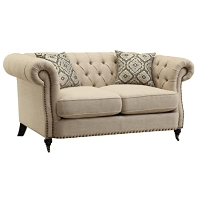 Coaster Trivellato Traditional Oatmeal Button Tufted Love Seat With Large  Rolled Arms And Nailheads