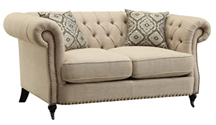 Exceptionnel Trivellato Button Tufted Loveseat With Large Rolled Arms And Nailheads  Oatmeal