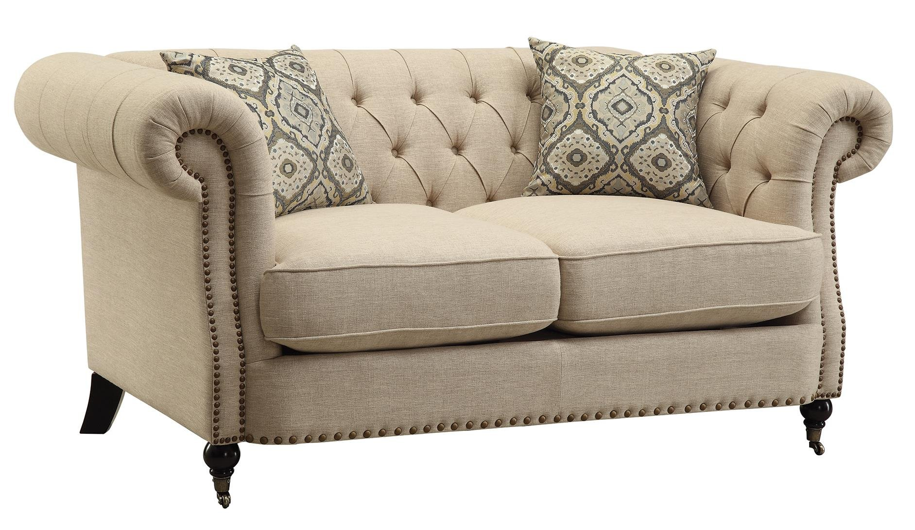 Coaster Home Furnishings 505822 Oatmeal Trivellato Collection Loveseat