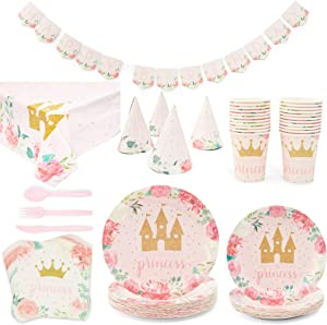 Birthday Princess Dinnerware Party Set, Includes Banner, Tablecloth, Plates, Cups, Hats, Napkins, and Cutlery (24 Guests, 194 Pieces)