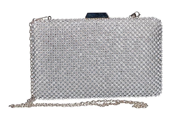 c81287c2f7 Borsetta donna MICHELLE MOON pochette argento da cerimonia con strass VN55:  Amazon.it: Abbigliamento