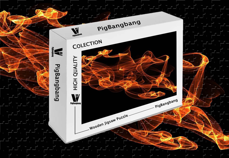 超大特価 pigbangbang、intellectiv B07FVV924K Games Photomosaic Jigsawパズル木製Aボックスで有名な絵画 Games – 抽象Fireブラック背景 – X 500ピースジグソーパズル(20.6 X 15.1
