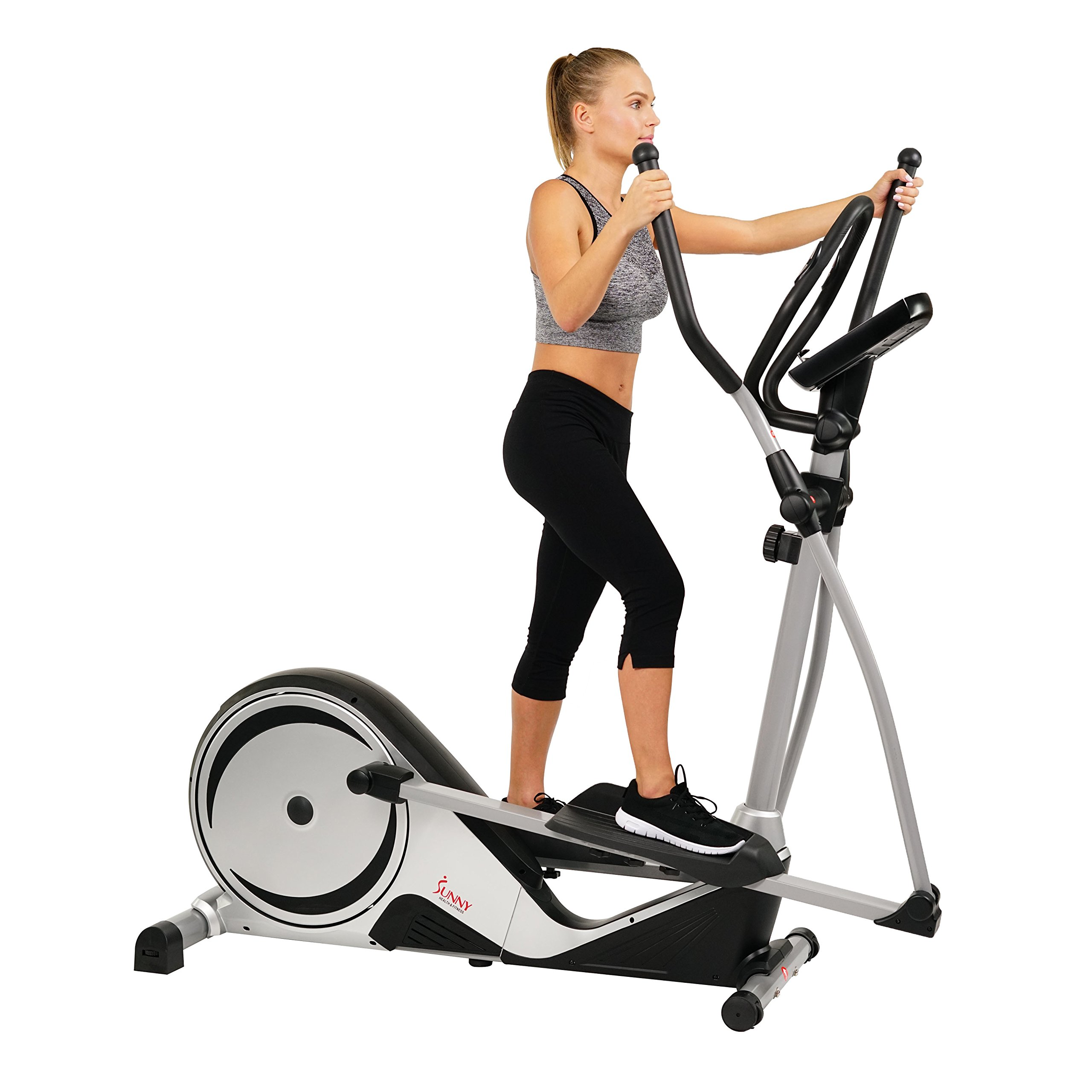 Sunny Health & Fitness Magnetic Elliptical Trainer Machine w/ LCD Monitor, Adjustable Stride, Heart Rate Monitor - SF-E3617 by Sunny Health & Fitness