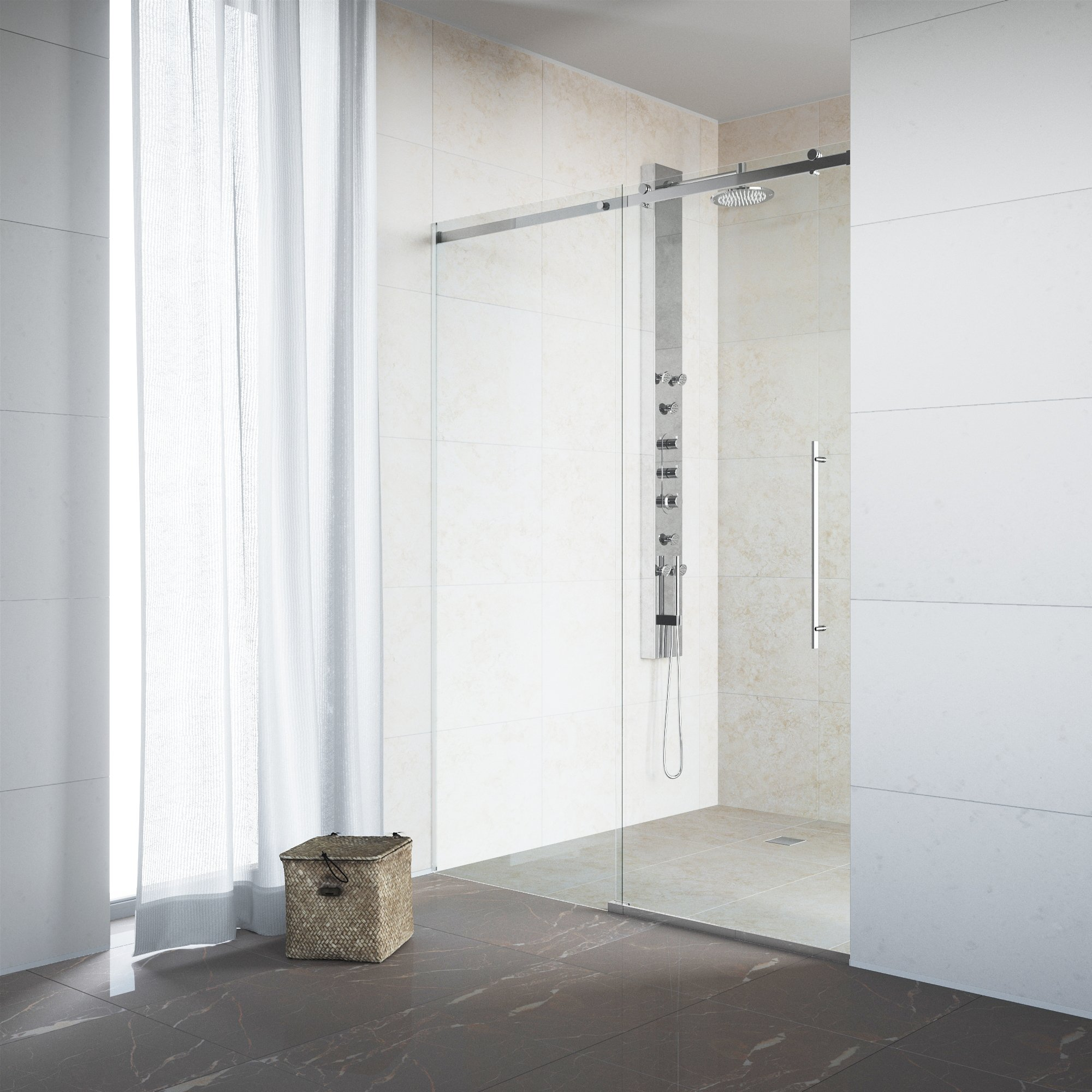 VIGO Luca 56 to 60-in. Frameless Sliding Shower Door with .375-in. Clear Glass and Chrome Hardware by Vigo (Image #9)