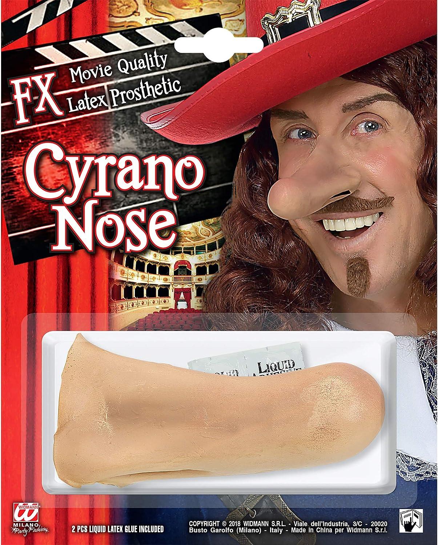 WIDMANN nariz cyrano con 2unidades pegamento látex Líquido Adulto de efectos especiales, Multicolor, wdm09714