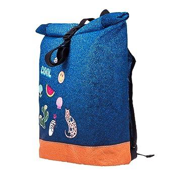 Mochila Courier School Roll-Top Bolsa de viaje de viajes azul con parches emoticones Denim Patche [049]: Amazon.es: Equipaje