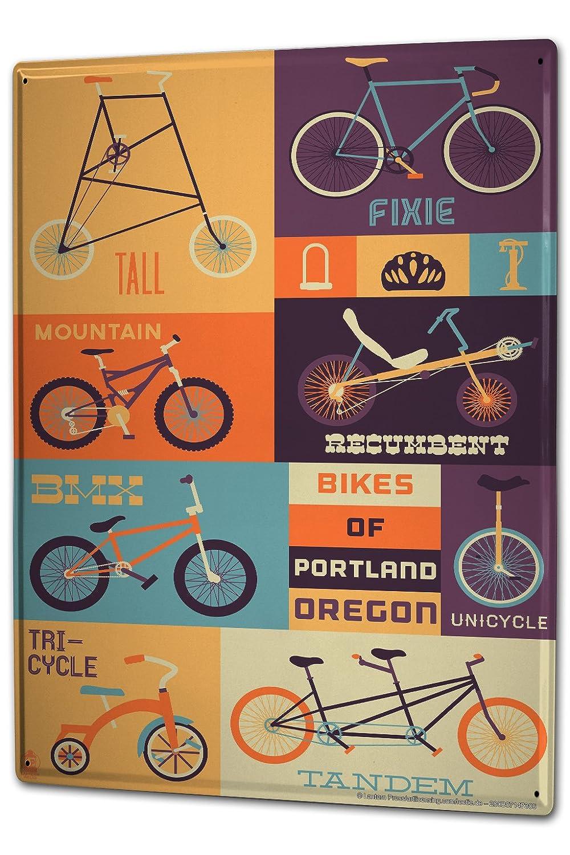 Cartel Letrero de Chapa XXL Deportes Portland de bicicleta ...