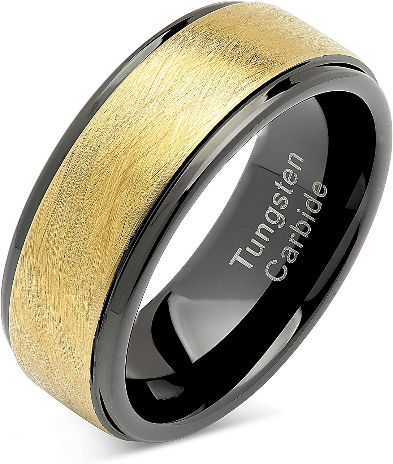 100S JEWELRY Tungsten Rings for Men Wedding Band Two Tone Black Gold Wire Brushed Size 8-16