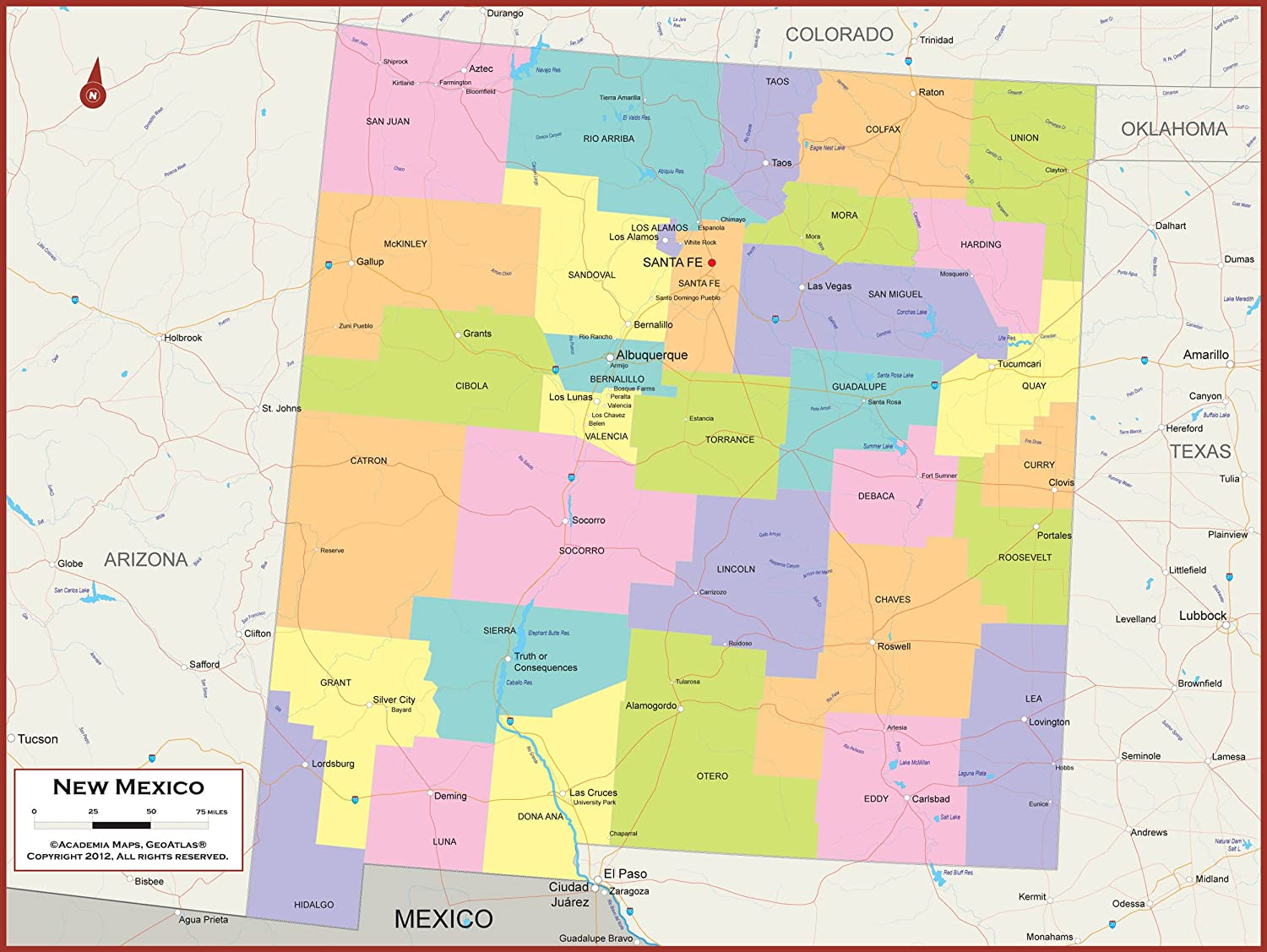Amazon.com : 54 x 41 Large New Mexico State Wall Map Poster with ...