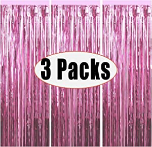 3 Packs 3.2ft x 6.6ft Light Pink Metallic Tinsel Foil Fringe Curtains Photo Booth Props for Birthday Wedding Engagement Bridal Shower Baby Shower Bachelorette Holiday Celebration Party Decorations