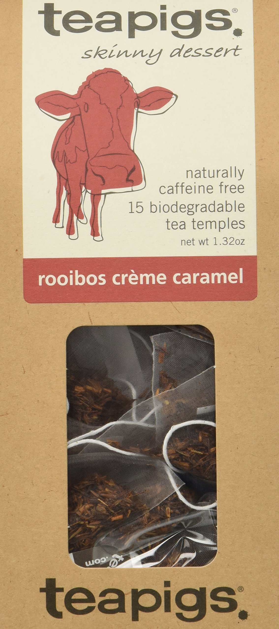 teapigs Rooibos Creme Caramel Tea, 15 Count, 1.32 Oz, (Pack of 6)