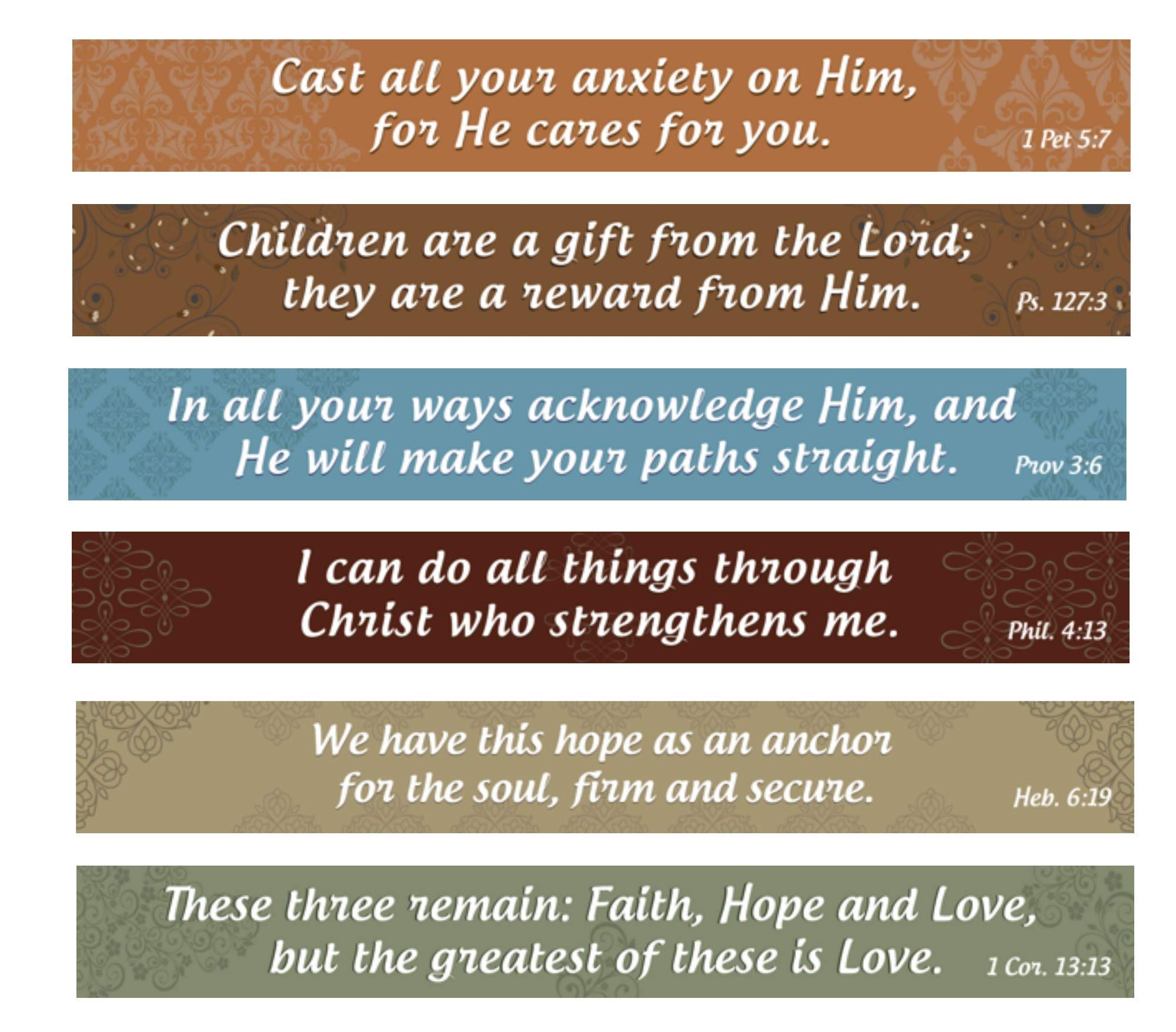 Home and Beyond Christian Magnets Inspirational Bible Verse Kitchen Magnets Set of 6 on Flexible Refrigerator Magnet Strips High Strength Magnets- Christian Gifts Made In The USA