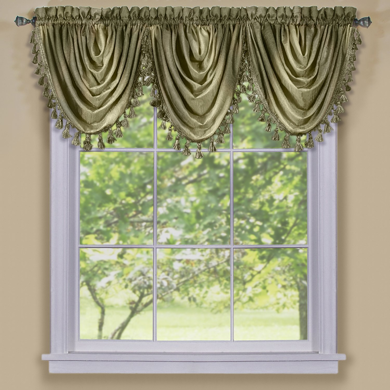 Chocolate Achim Imports OMWFVLCH06 Achim Home Furnishings Ombre Waterfall Valance