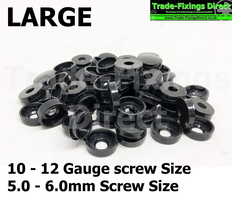 Lot de 5 cache-vis noirs con/çus pour sadapter aux vis de calibre 10-12 ou aux vis de taille 5-6 mm.