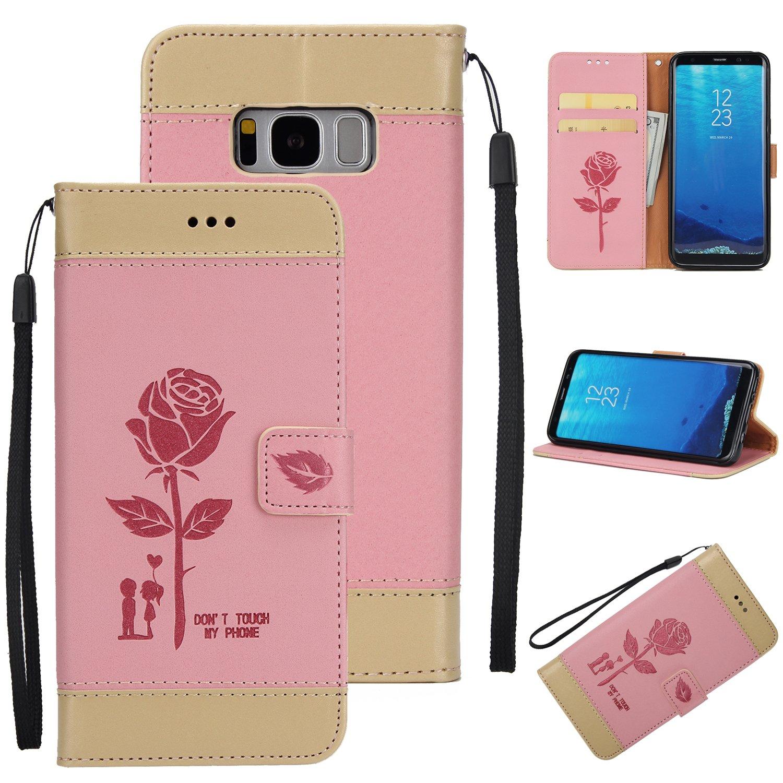 Cozy Hut Samsung Galaxy S8 Hü lle,Samsung Galaxy S8 Schutzhü lle, Rose Lover Design Premium PU Leder Flip Case Handyhü lle Schutzhü lle fü r Samsung Galaxy S8 5,8 Zoll Hü lle,Blä tter Muster Blume Strap