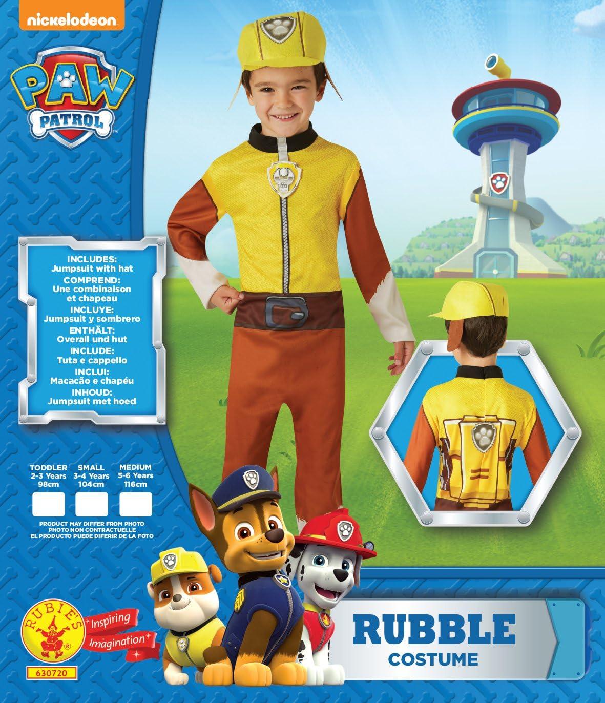 Rubies - Disfraz oficial de la Patrulla Canina de Rubble para ...