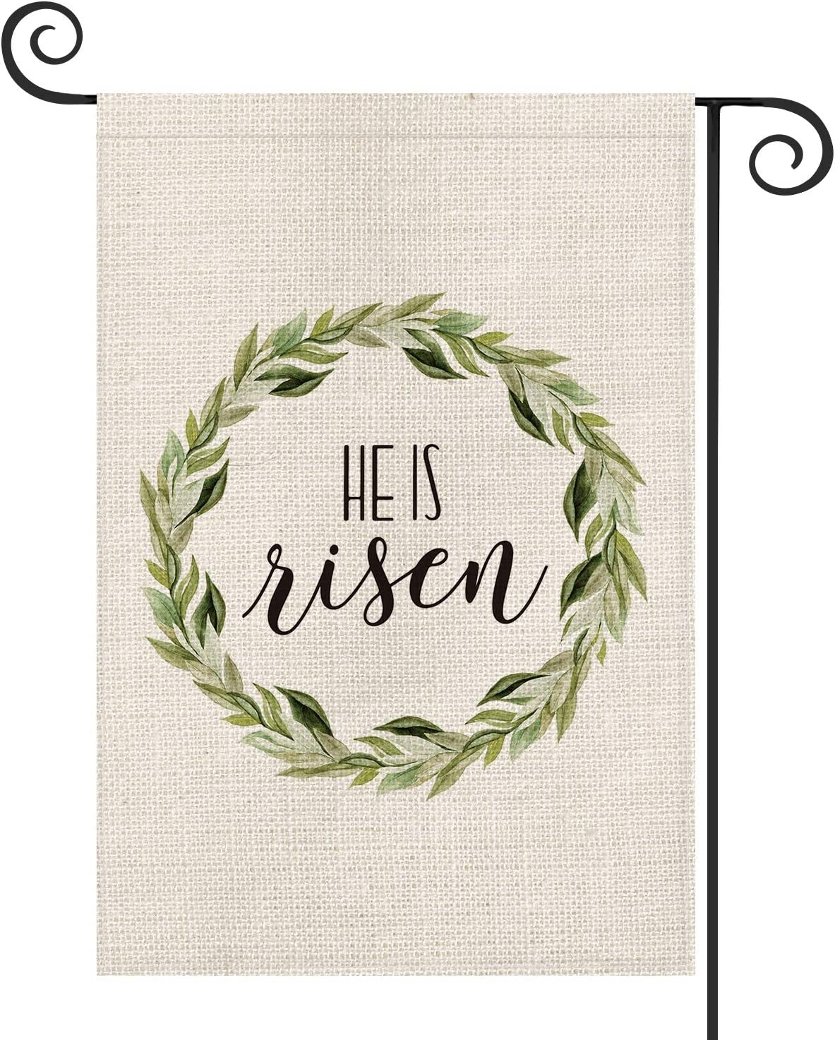 AVOIN He is Risen Easter Garden Flag Vertical Double Sized, Laurel Wreath Yard Outdoor Decoration 12.5 x 18 Inch