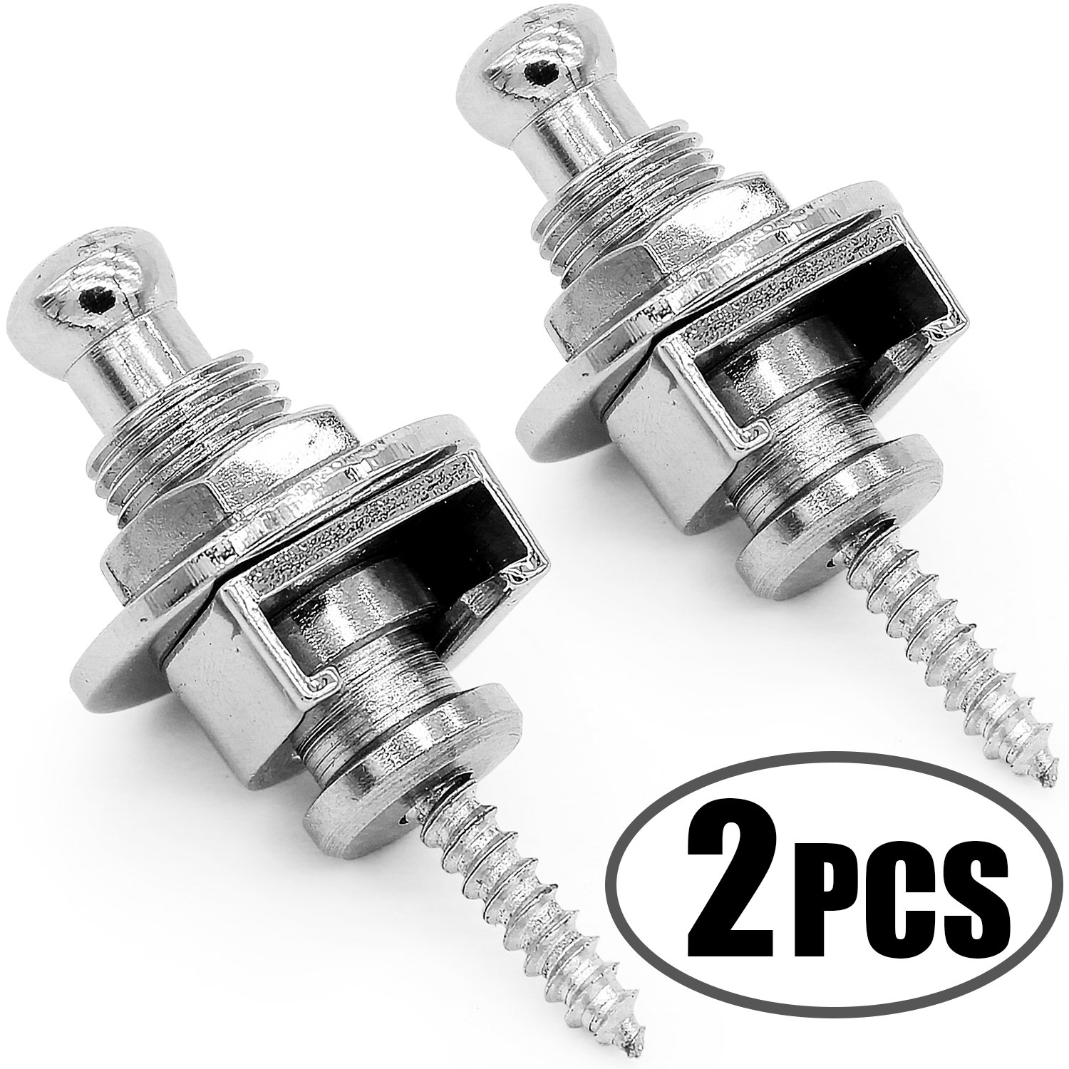 Anwenk Premium Guitar Strap Locks and Buttons Security Quick Release Straplocks Strap Retainer System Nickel (Pack of 2) by Anwenk (Image #1)
