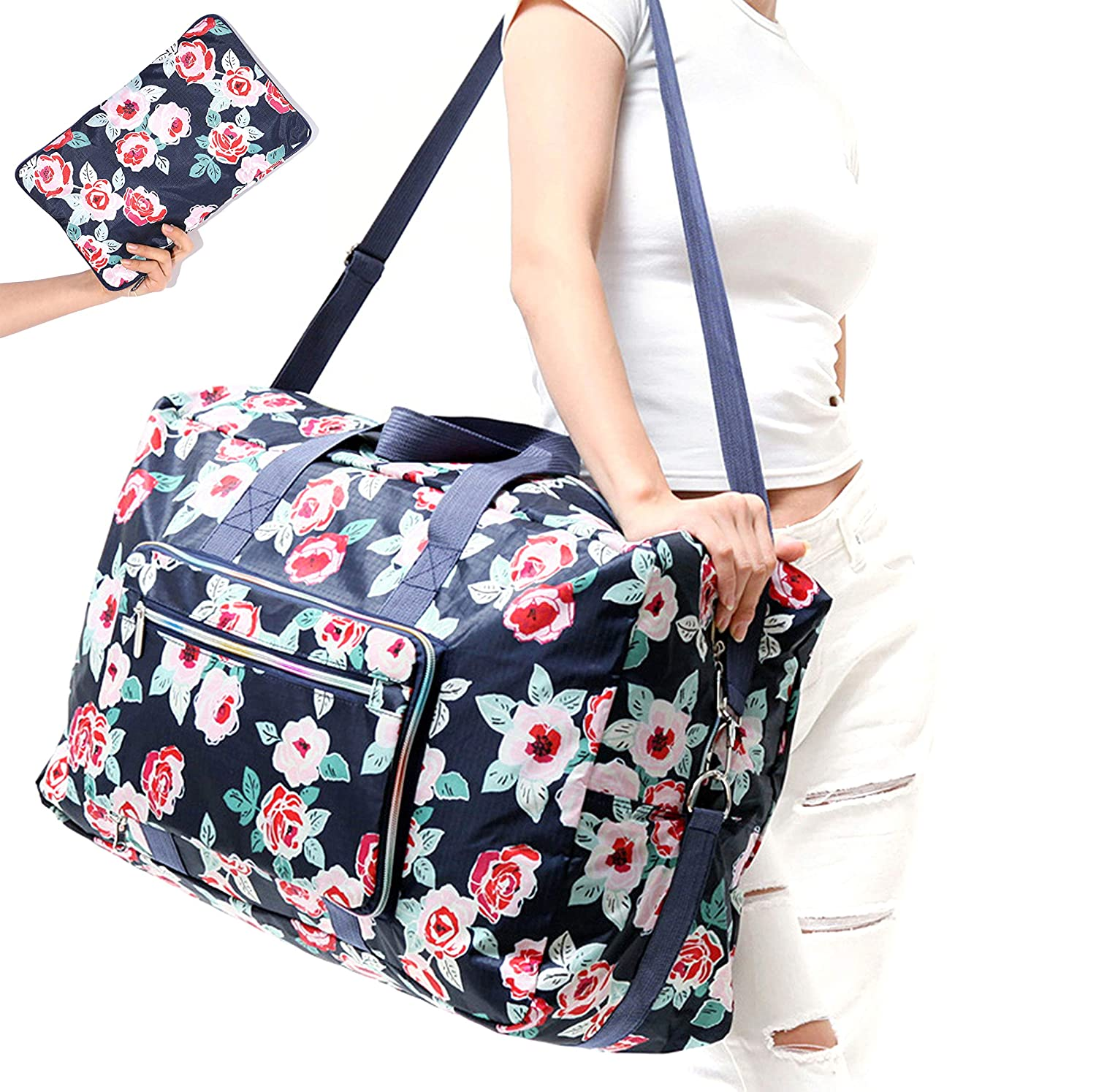 Travel Duffel Bag Foldable Floral Large Travel Bag Weekend Bag Checked Bag Luggage Tote 18 Style 21.6IN x 9.8IN x 13.7IN