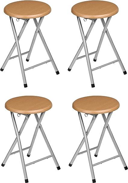 Oferta amazon: La Silla Española - Pack 4 Taburetes plegables fabricados en aluminio con asiento terminado en madera. Medidas 45x30x30, 4 unidades