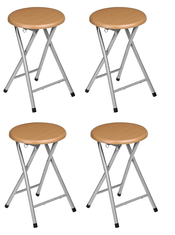 La Silla Española - Pack 4 Taburetes plegables fabricados en aluminio con asiento terminado en madera. Medidas 45x30x30, 4 unidades