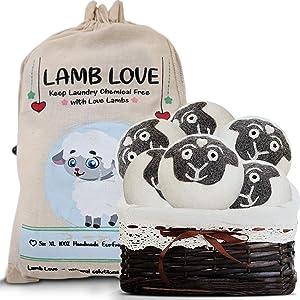 Wool Dryer XL 100% Organic New Zealand Sheep's Wool Fabric Softener Balls, 6 Pack