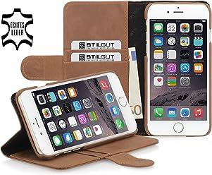 StilGut Talis avec fonction de support, housse portefeuille en cuir pour iPhone 6s (4.7 pouces), en cognac vintage