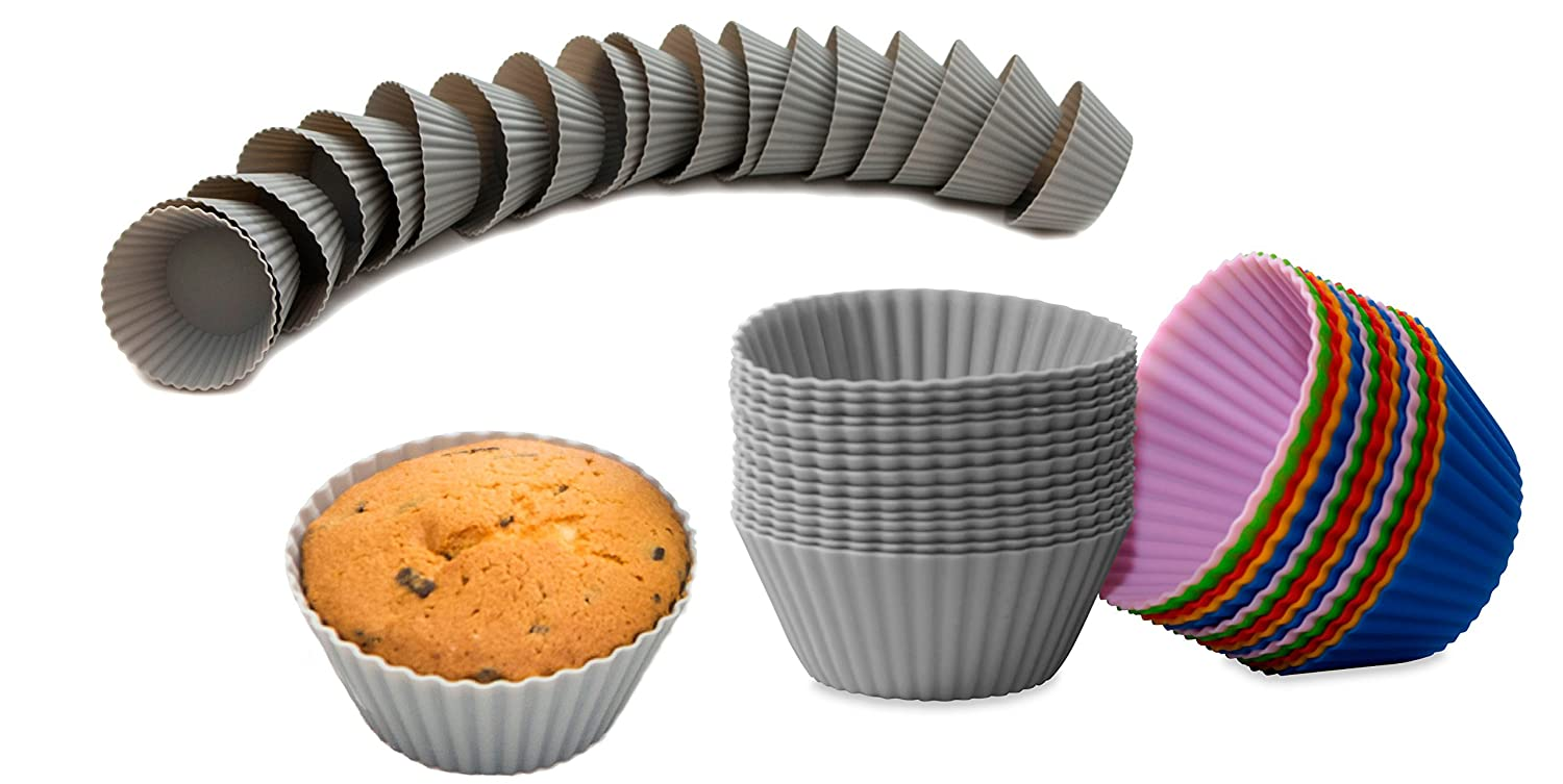 BackeFix Zero Waste muffin cases reusable and non-sticky - no grease nor paper Ø 7cm (gray, 30 pieces)