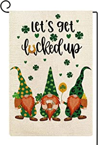 ORTIGIA St Patrick Day Garden Flags 12x18 Double Sided,Let's Get Lucked up Gnome Garden Flag for Outside,Small Garden Flag St Patricks Day, Shamrock Decorations Outdoor Lawn Patio
