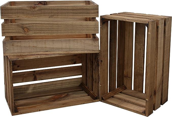 Decowood - Pack de 3 Cajas Fabricadas en Madera de Pino Gallego - Tamaño Grande - Color Marrón - Acabado Envejecido - Tamaño 49 x 25,5 x 30,5 cm: Amazon.es: Hogar