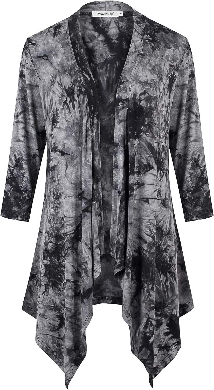 Ninedaily Women's 3/4 Sleeve Cardigans Draped Open Front Shawl Tie Dye Shirts