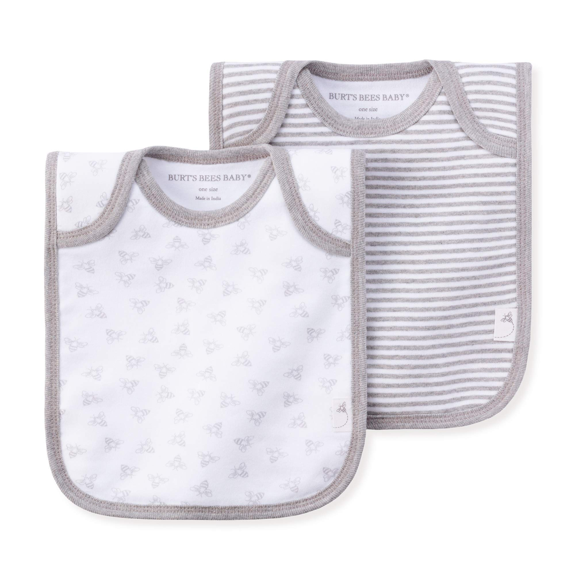 4-Pack Lap-Shoulder Drool Cloths Bibs Burts Bees Baby 100/% Organic Cotton with Absorbent Terry Towel Backing Heather Grey
