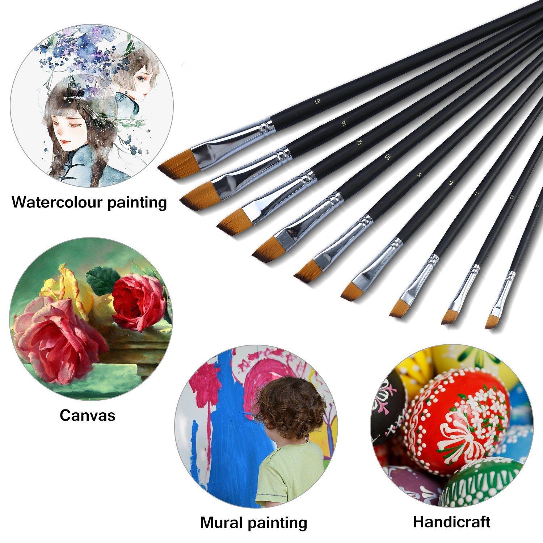 Yosoo 9 K/ünstlerpinsel Set Flachpinsel Nylon Acrylpinsel Aquarellpinsel f/ür Acrylfarben Aquarellfarben