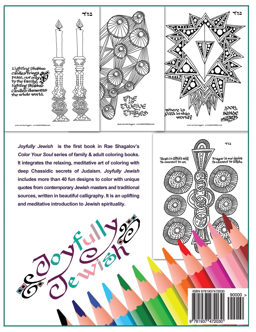 Joyfully Jewish Family And Adult Coloring Book For Relaxation Meditation Color Your Soul Volume 1 Rae Shagalov 9781937472030 Amazon Books