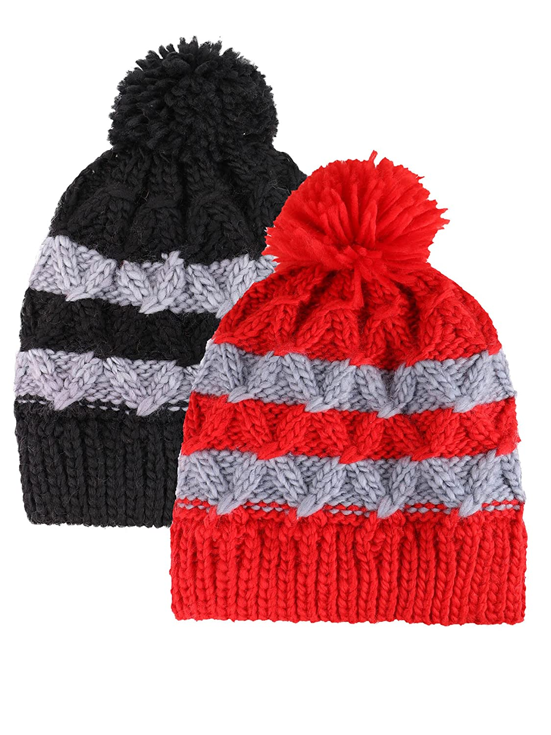 Kids Knit Beanies Boys/Girls Winter Hat Toddlers Cap 2 Pack - Assorted Patterns