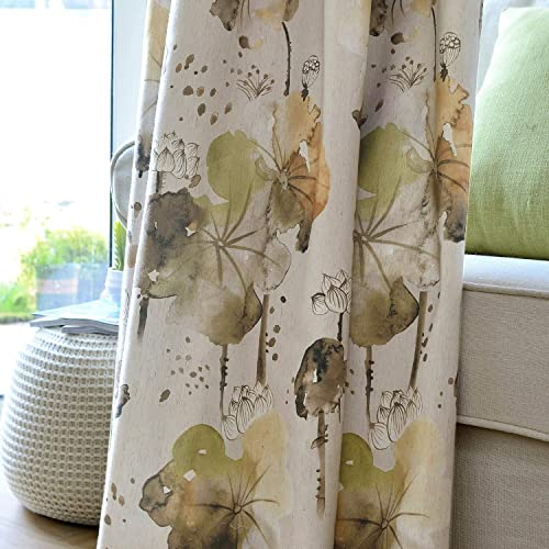 Clacoco Lotus Flower Leaf Curtains Linen Watercolor Art Green Yellow Drapes Grommet Top Grommet Top 50 W 84 Long