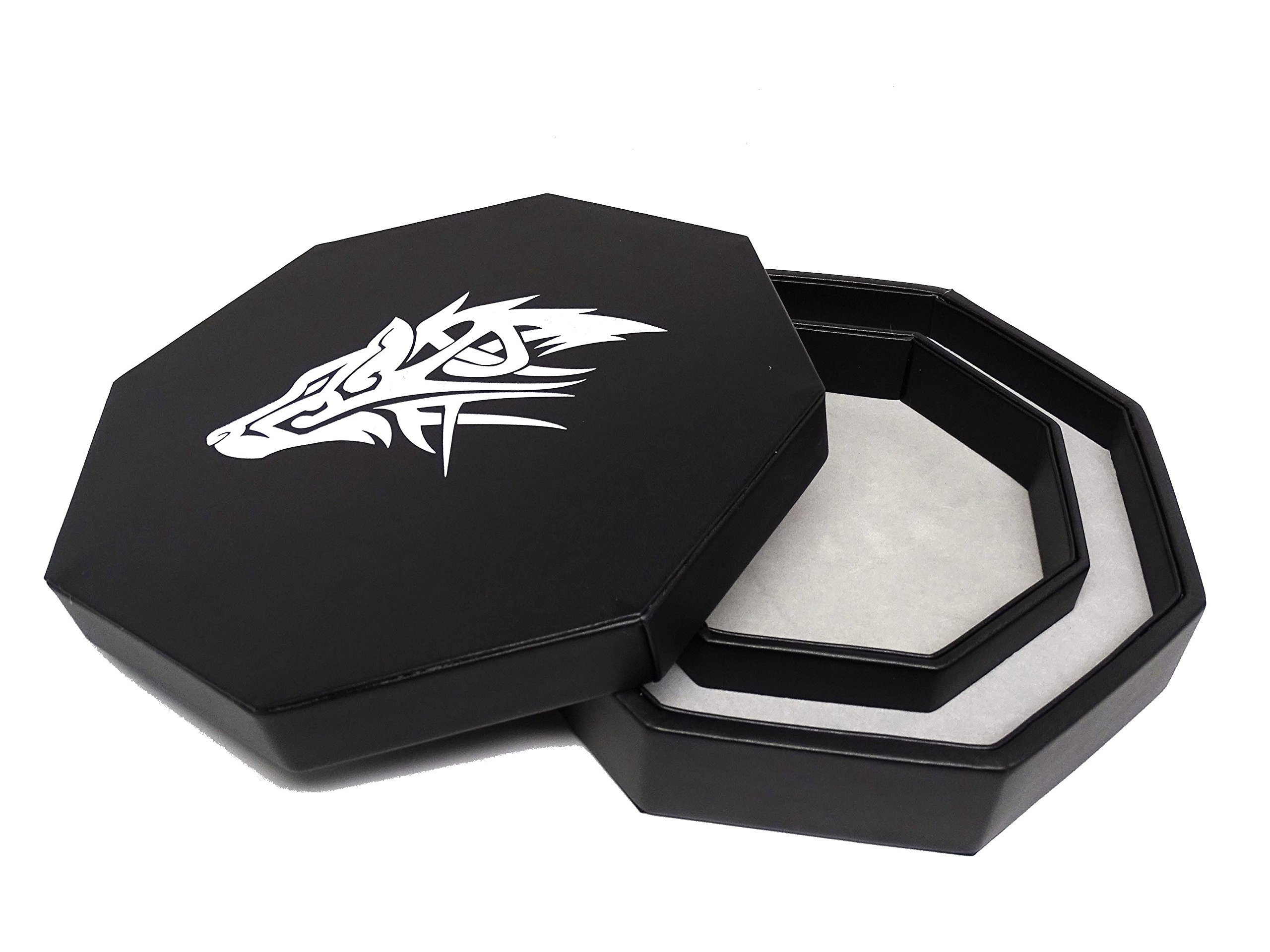 Easy Roller Dice Co. 8 Inch Dice Tray with Lid and Dice Staging Area - Wolf Design