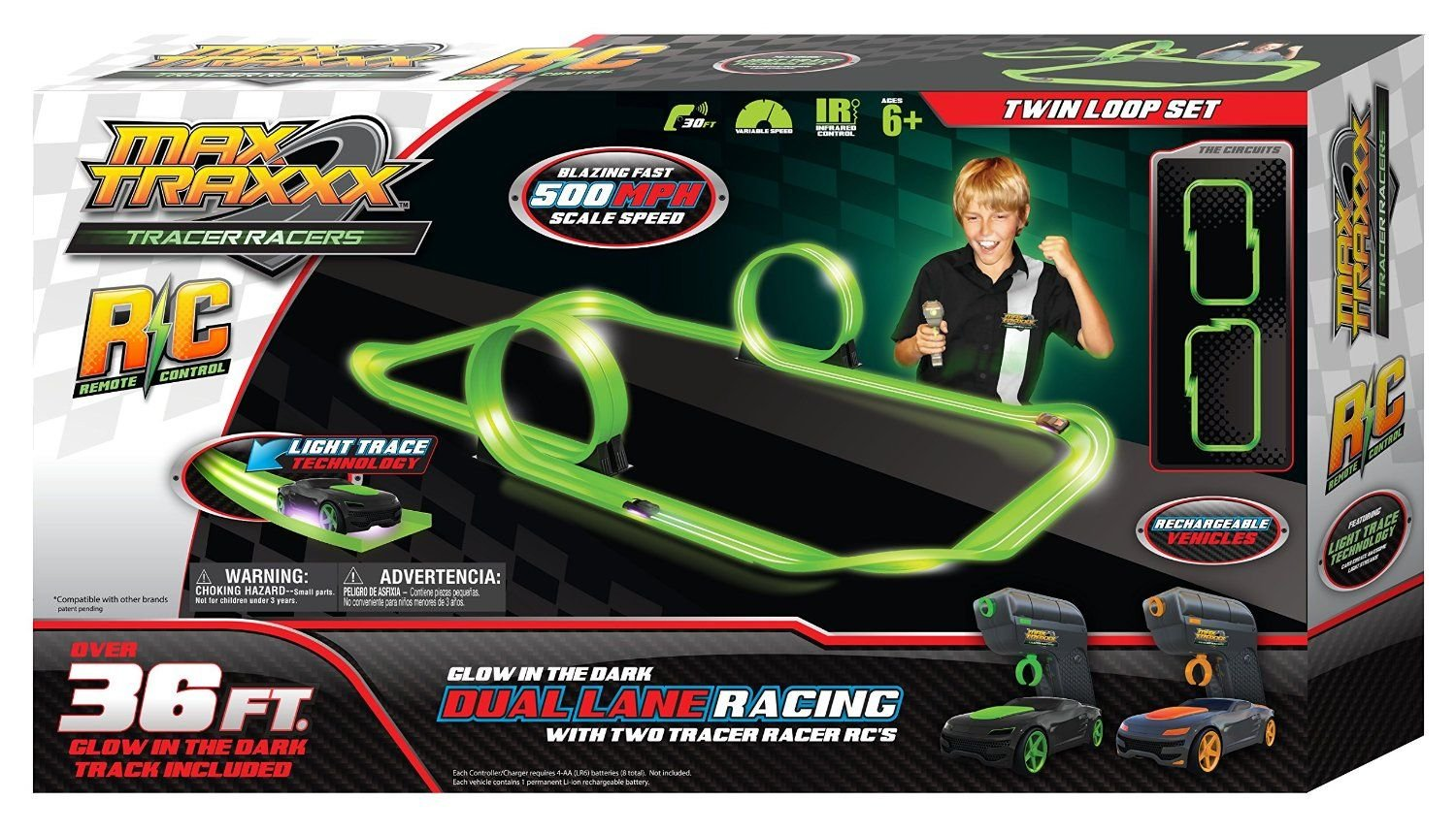 Max Traxxx / Tracer Racers R/C High Speed Remote Control Twin Loop Track Set by MaxTraxxx Skullduggery