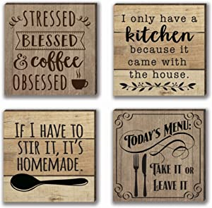 Farmhouse Refrigerator Magnets | 4 Rustic Design Farm Theme Funny Magnet Set | for Fridge, Dishwasher, Magnetic Kitchen Whiteboard