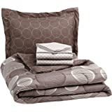 AmazonBasics 5-Piece Microfiber Bedding Set for Single Bed, (Includes 1 Comforter, 1 Flat Bedsheet, 2 Pillowcases, 1 Fitted Bedsheet), Industrial Grey